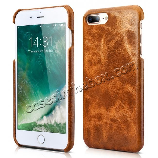 cheap ICARER Genuine Oil Wax Leather 2in1 Flip Case + Back Cover For iPhone 8 Plus 5.5 inch - Brown
