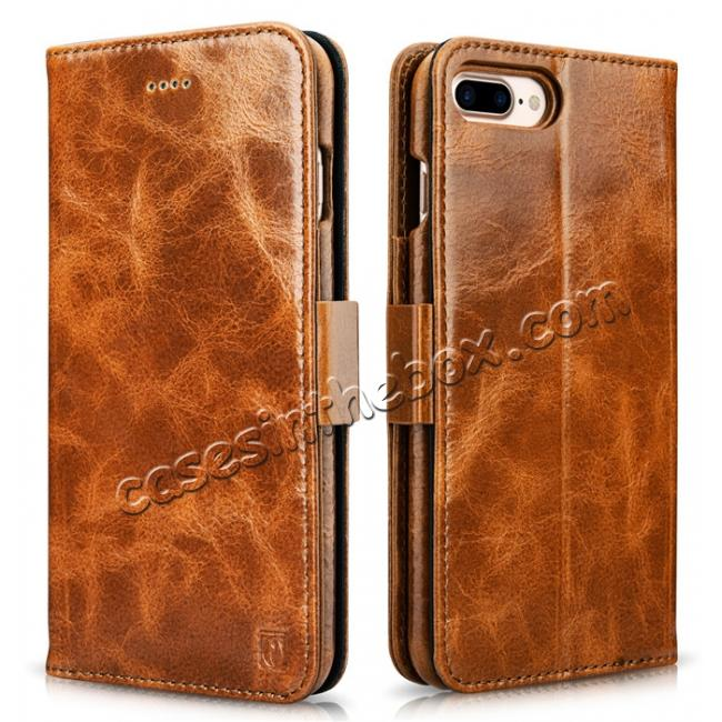 wholesale ICARER Genuine Oil Wax Leather 2in1 Flip Case + Back Cover For iPhone 8 Plus 5.5 inch - Brown