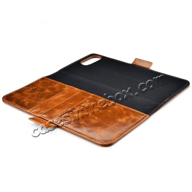 low price ICARER Genuine Oil Wax Leather 2in1 Flip Case + Back Cover For iPhone 8 Plus 5.5 inch - Brown