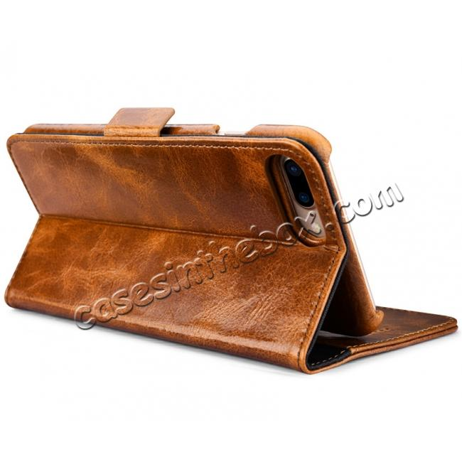 high quanlity ICARER Genuine Oil Wax Leather 2in1 Flip Case + Back Cover For iPhone 8 Plus 5.5 inch - Brown