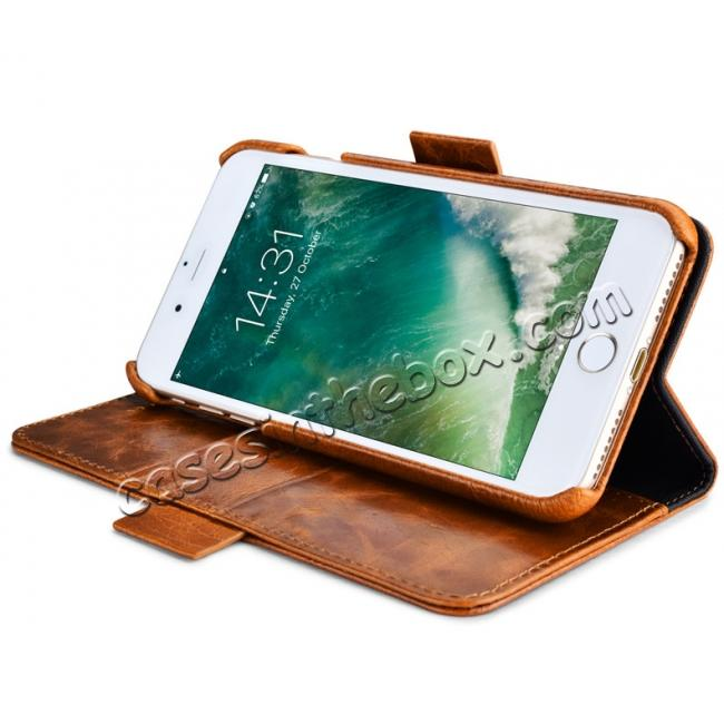 on sale ICARER Genuine Oil Wax Leather 2in1 Flip Case + Back Cover For iPhone 8 Plus 5.5 inch - Coffee