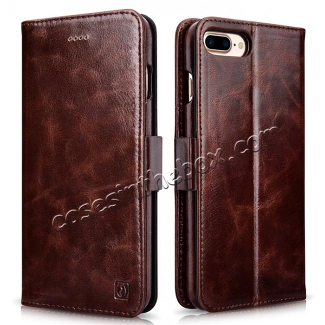 wholesale ICARER Genuine Oil Wax Leather 2in1 Flip Case + Back Cover For iPhone 8 Plus 5.5 inch - Coffee