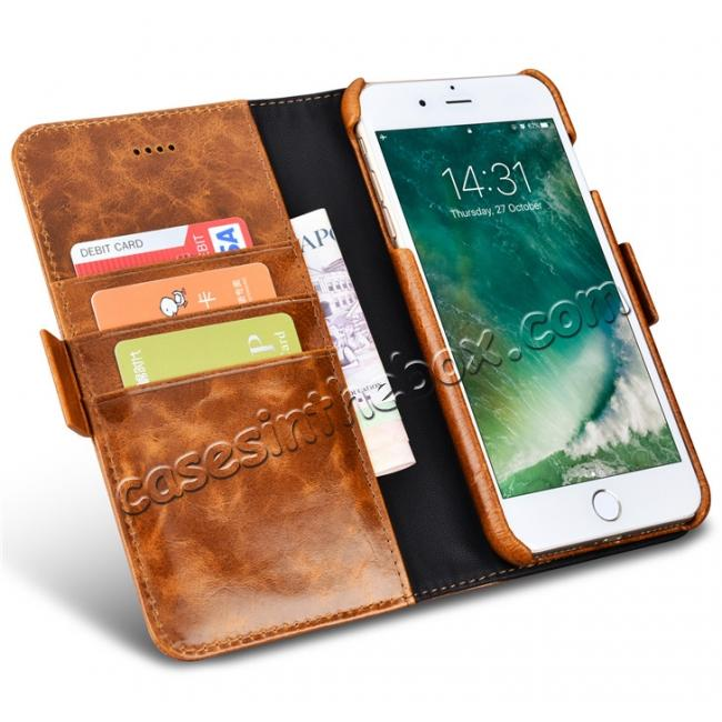top quality ICARER Genuine Oil Wax Leather 2in1 Flip Case + Back Cover For iPhone 8 Plus 5.5 inch - Coffee