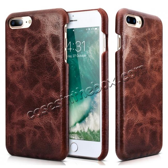 discount ICARER Genuine Oil Wax Leather 2in1 Flip Case + Back Cover For iPhone 8 Plus 5.5 inch - Coffee