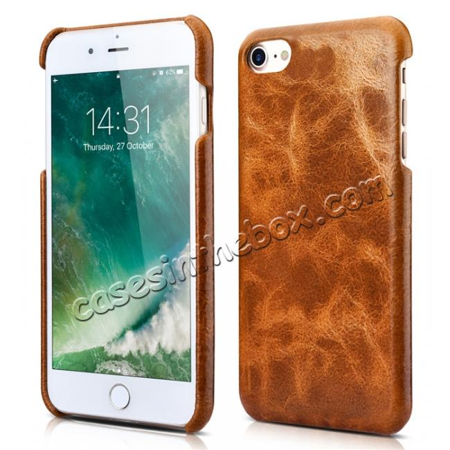 discount ICARER Oil Wax Genuine Leather Detachable 2 in 1 Wallet Stand Case For iPhone 8 4.7 inch - Brown