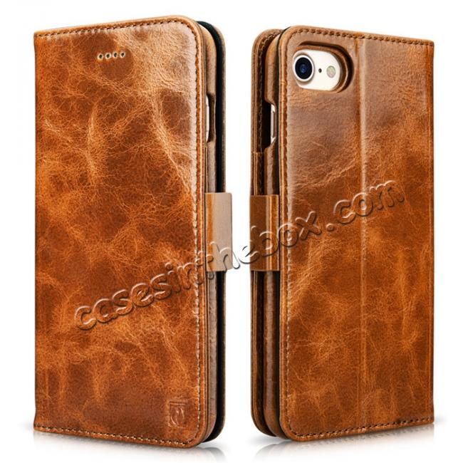 wholesale ICARER Oil Wax Genuine Leather Detachable 2 in 1 Wallet Stand Case For iPhone 8 4.7 inch - Brown