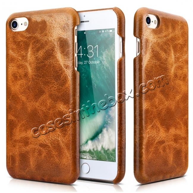 cheap ICARER Oil Wax Genuine Leather Detachable 2 in 1 Wallet Stand Case For iPhone 8 4.7 inch - Brown