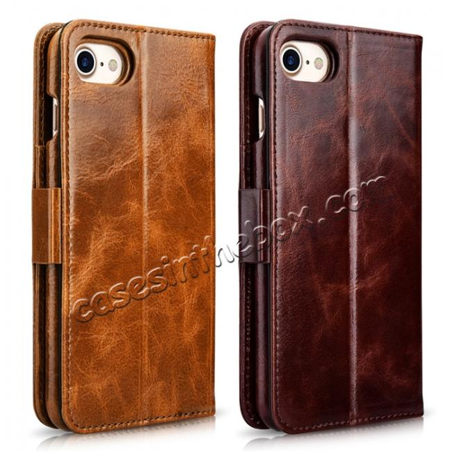 top quality ICARER Oil Wax Genuine Leather Detachable 2 in 1 Wallet Stand Case For iPhone 8 4.7 inch - Brown