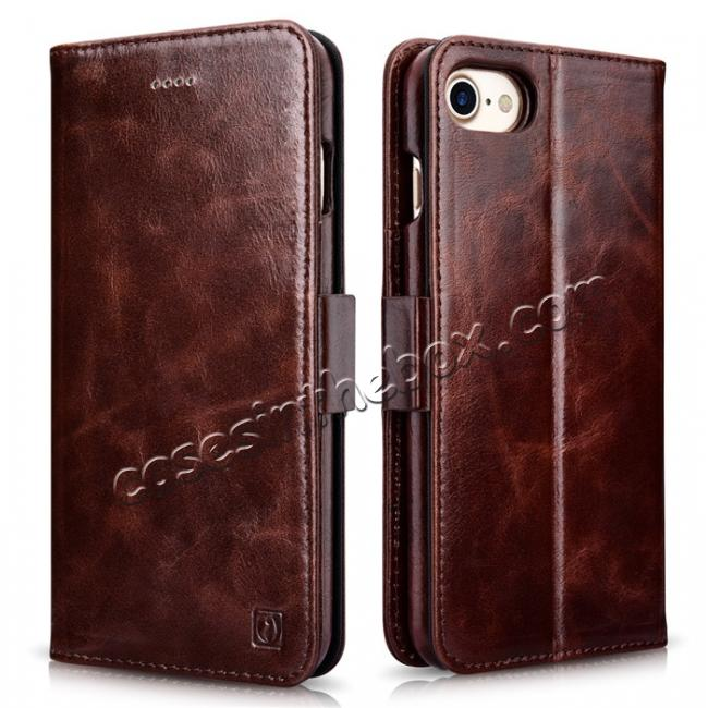 wholesale ICARER Oil Wax Genuine Leather Detachable 2 in 1 Wallet Stand Case For iPhone 8 4.7 inch - Coffee