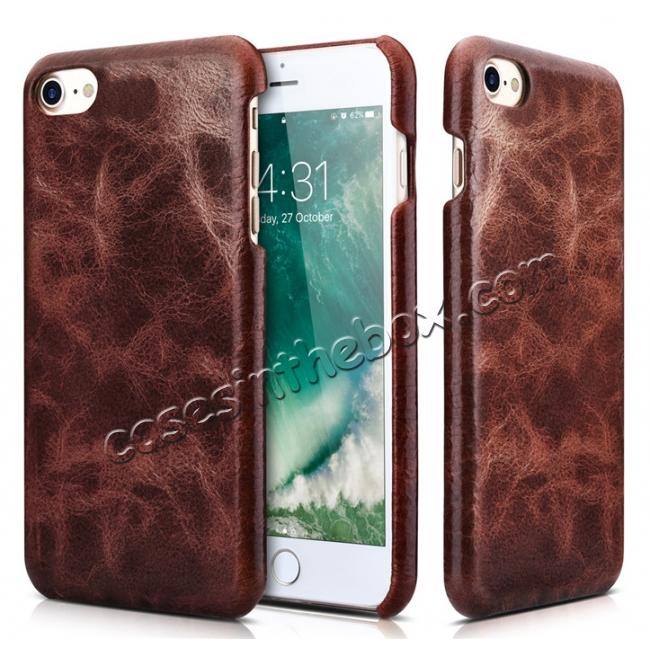discount ICARER Oil Wax Genuine Leather Detachable 2 in 1 Wallet Stand Case For iPhone 8 4.7 inch - Coffee