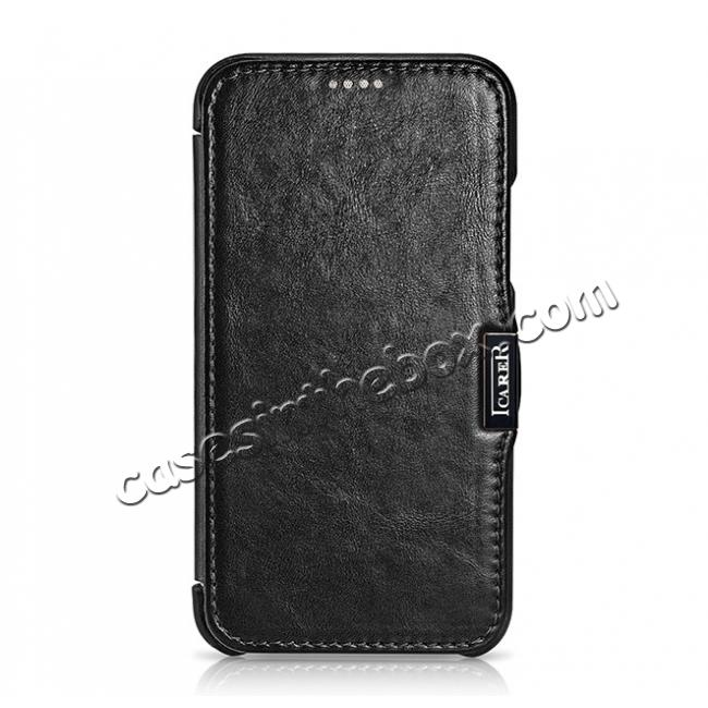 cheap ICARER Vintage Classic Series Genuine Leather Flip Case for iPhone X - Black