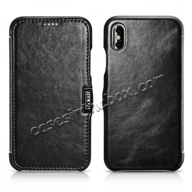 discount ICARER Vintage Classic Series Genuine Leather Flip Case for iPhone X - Black