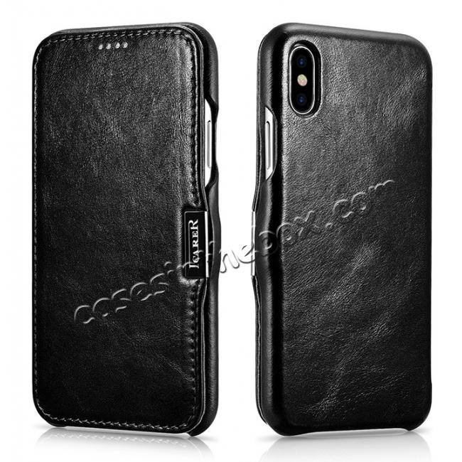 wholesale ICARER Vintage Classic Series Genuine Leather Flip Case for iPhone X - Black