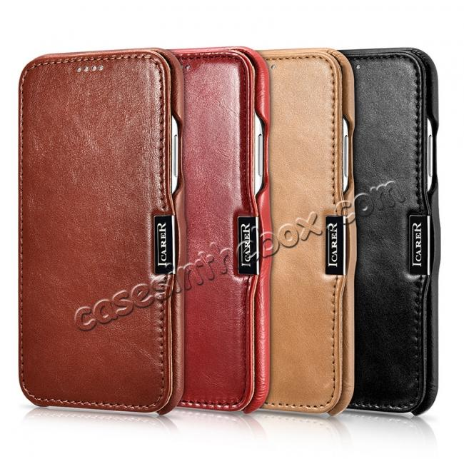 low price ICARER Vintage Classic Series Genuine Leather Flip Case for iPhone X - Black