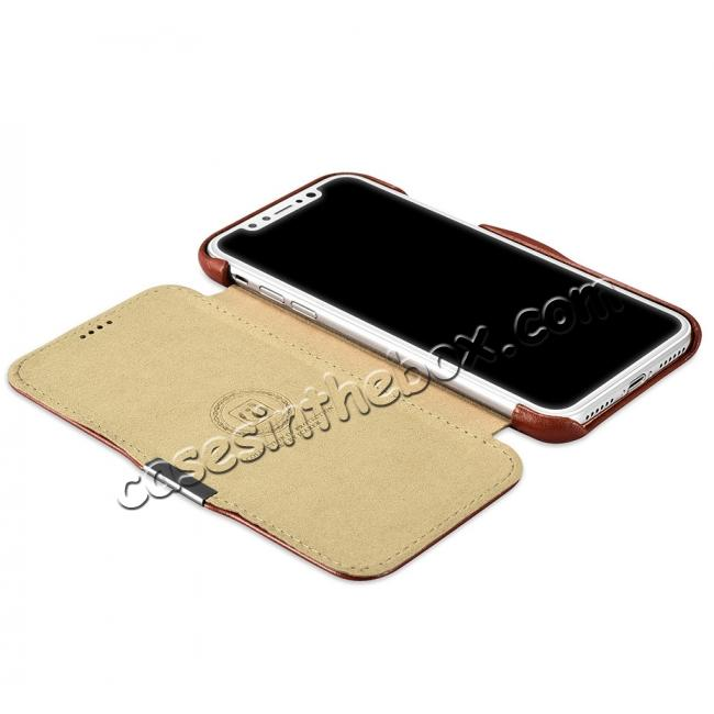 on sale ICARER Vintage Classic Series Genuine Leather Flip Case for iPhone X - Khaki
