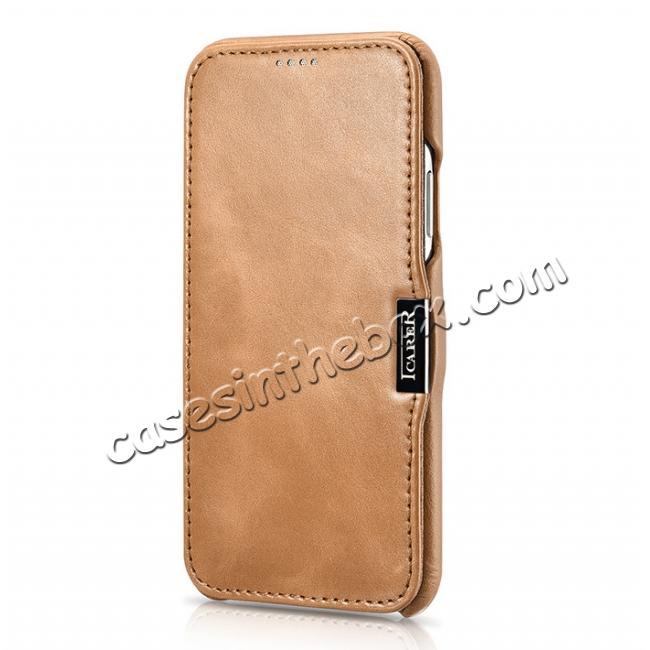 top quality ICARER Vintage Classic Series Genuine Leather Flip Case for iPhone X - Khaki
