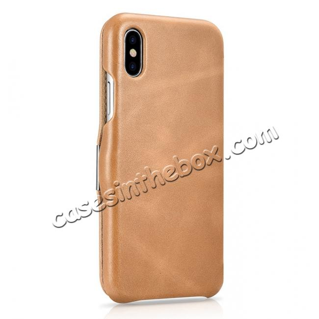 best price ICARER Vintage Classic Series Genuine Leather Flip Case for iPhone X - Khaki