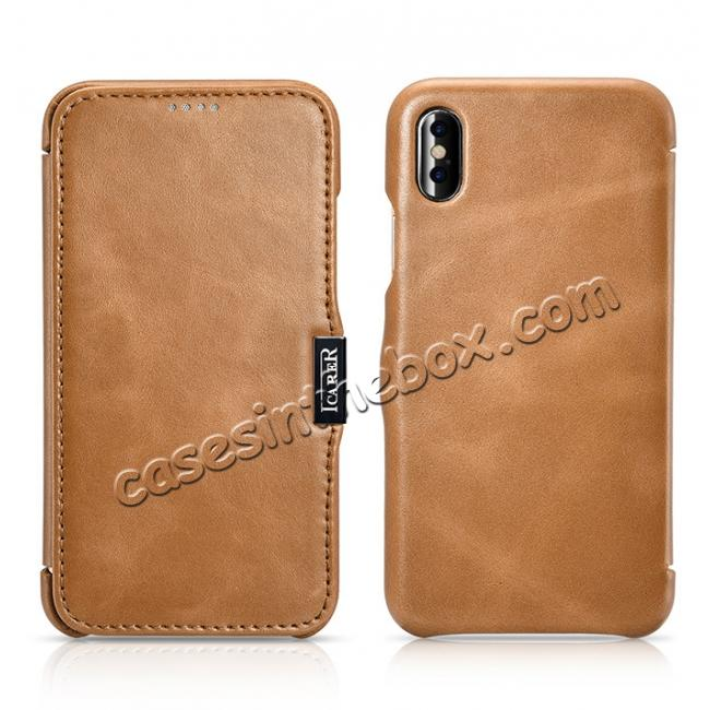 discount ICARER Vintage Classic Series Genuine Leather Flip Case for iPhone X - Khaki