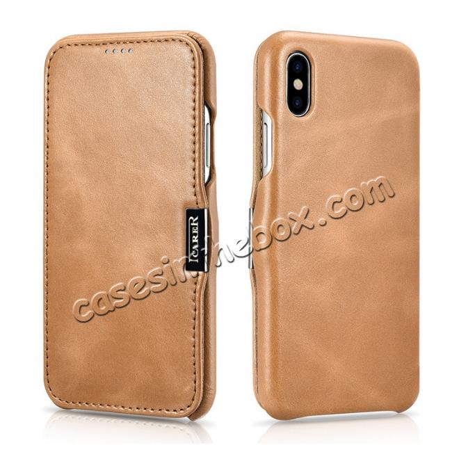 wholesale ICARER Vintage Classic Series Genuine Leather Flip Case for iPhone X - Khaki