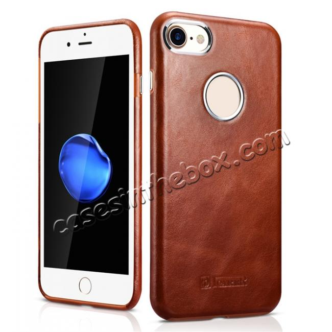 wholesale ICARER Vintage Genuine Leather Back Case Cover for iPhone 8 4.7 inch - Brown