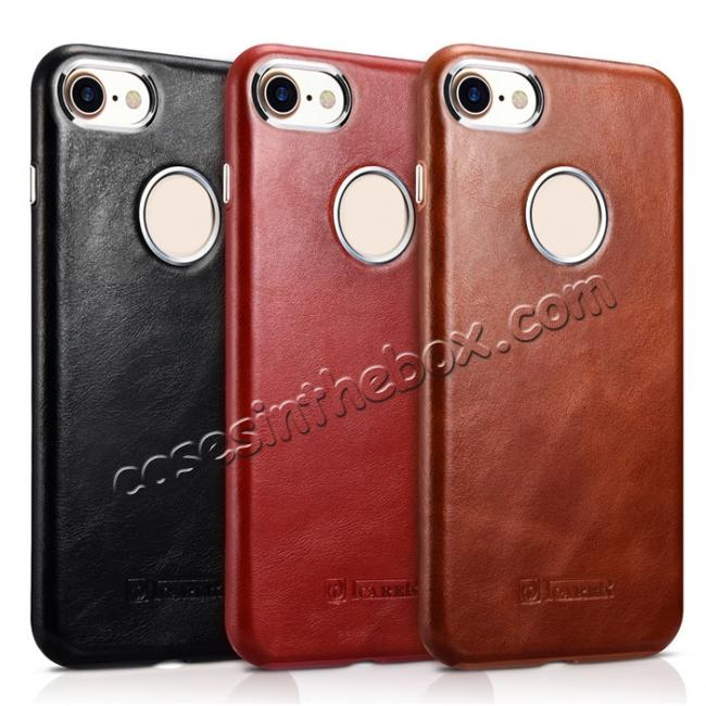 on sale ICARER Vintage Genuine Leather Back Case Cover for iPhone 8 4.7 inch - Brown