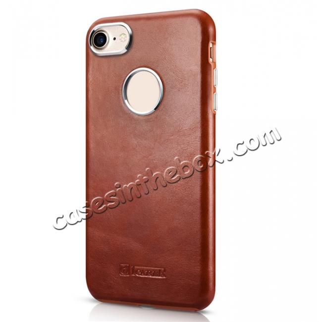 discount ICARER Vintage Genuine Leather Back Case Cover for iPhone 8 4.7 inch - Brown