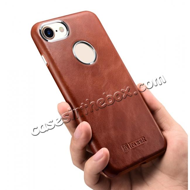 top quality ICARER Vintage Genuine Leather Back Case Cover for iPhone 8 4.7 inch - Brown