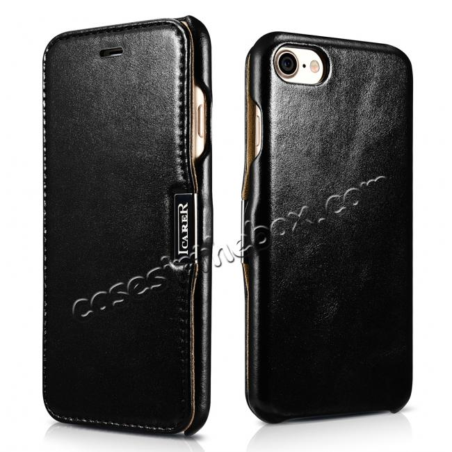 wholesale ICARER Vintage Genuine Leather Side Magnetic Flip Case for Apple iPhone 8 - Black