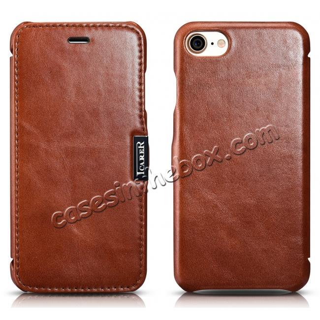 discount ICARER Vintage Genuine Leather Side Magnetic Flip Case for Apple iPhone 8 - Brown