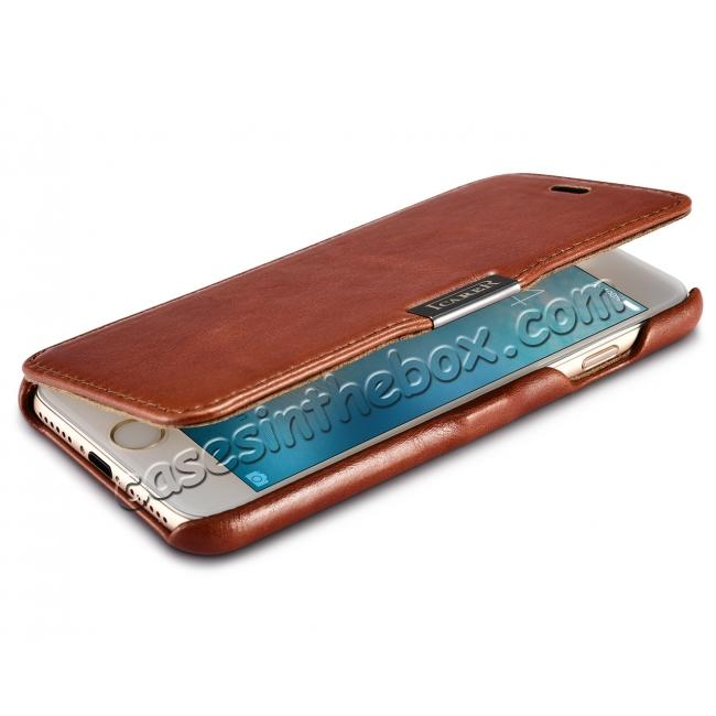 top quality ICARER Vintage Genuine Leather Side Magnetic Flip Case for Apple iPhone 8 - Brown