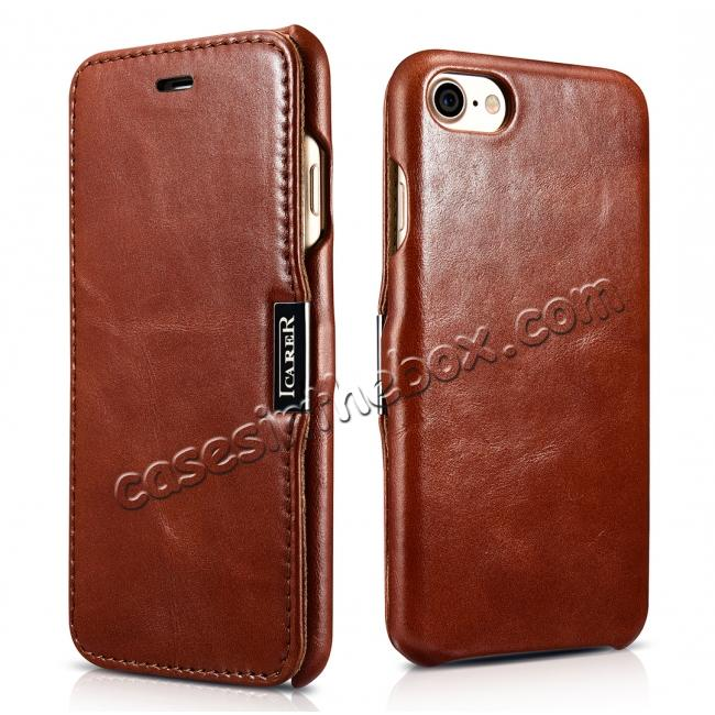 wholesale ICARER Vintage Genuine Leather Side Magnetic Flip Case for Apple iPhone 8 - Brown