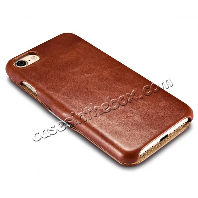 on sale ICARER Vintage Genuine Leather Side Magnetic Flip Case for Apple iPhone 8 - Brown