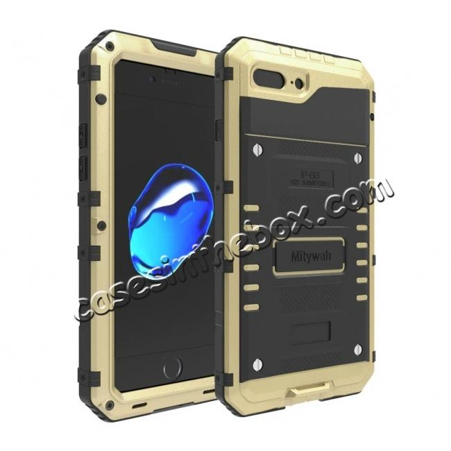 wholesale IP68 Waterproof Shockproof Aluminum Metal Case for iPhone 8 Plus 5.5inch - Gold