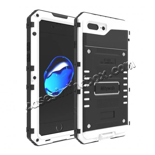 wholesale IP68 Waterproof Shockproof Aluminum Metal Case for iPhone 8 Plus 5.5inch - White