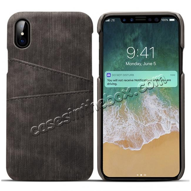 wholesale Leather Wallet Credit Card Slot Back Case Skin Cover for iPhone X - Black