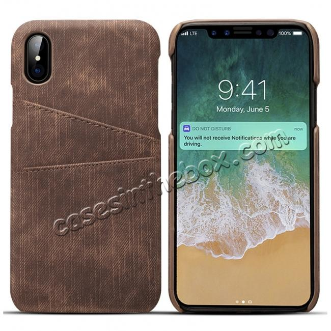 wholesale Leather Wallet Credit Card Slot Back Case Skin Cover for iPhone X - Coffee