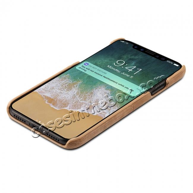 discount Leather Wallet Credit Card Slot Back Case Skin Cover for iPhone X - Coffee