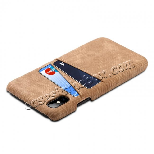 cheap Leather Wallet Credit Card Slot Back Case Skin Cover for iPhone X - Coffee