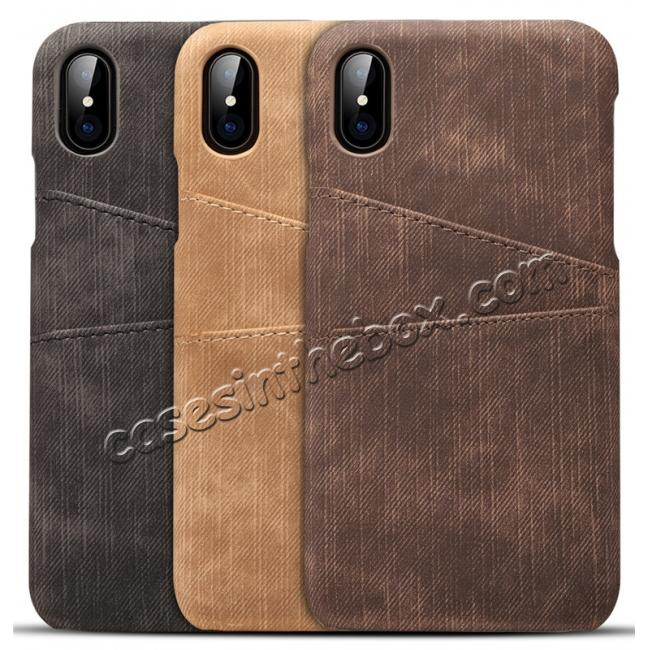 top quality Leather Wallet Credit Card Slot Back Case Skin Cover for iPhone X - Coffee