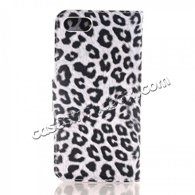 discount Leopard Pattern Magnetic Pu Leather Wallet Stand Case for iPhone 8 4.7 inch - White