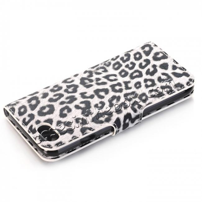 cheap Leopard Pattern Magnetic Pu Leather Wallet Stand Case for iPhone 8 4.7 inch - White