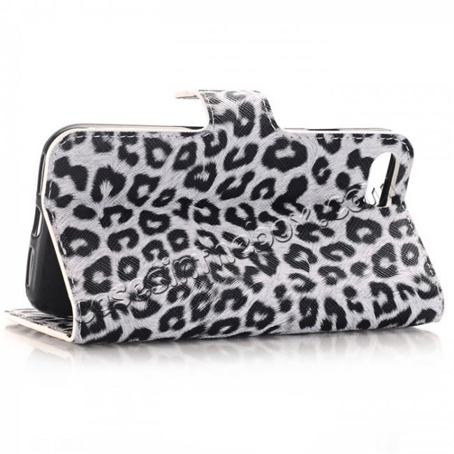 top quality Leopard Pattern Magnetic Pu Leather Wallet Stand Case for iPhone 8 4.7 inch - White