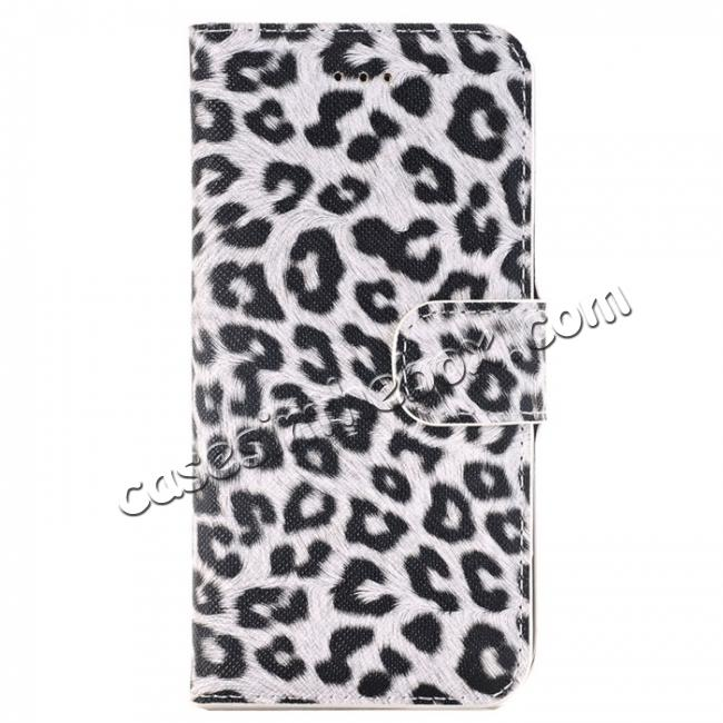 wholesale Leopard Pattern Magnetic Pu Leather Wallet Stand Case for iPhone 8 4.7 inch - White