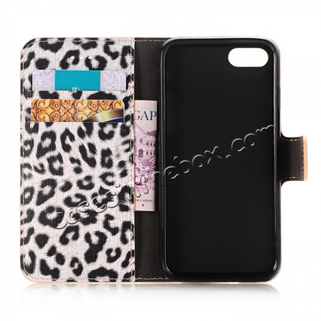 on sale Leopard Pattern Magnetic Pu Leather Wallet Stand Case for iPhone 8 4.7 inch - Yellow