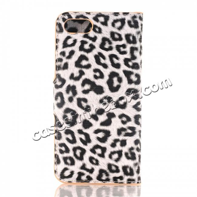 discount Leopard Pattern Magnetic Pu Leather Wallet Stand Case for iPhone 8 4.7 inch - Yellow