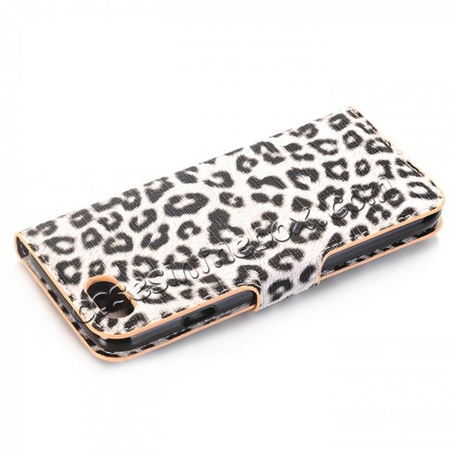 cheap Leopard Pattern Magnetic Pu Leather Wallet Stand Case for iPhone 8 4.7 inch - Yellow