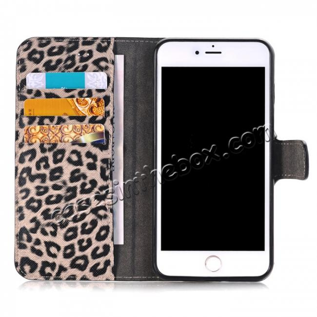 best price Leopard Skin Leather Folio Stand Wallet Case for iPhone 8 Plus 5.5 inch - Dark Brown