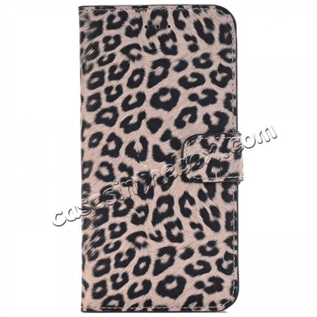 wholesale Leopard Skin Leather Folio Stand Wallet Case for iPhone 8 Plus 5.5 inch - Dark Brown