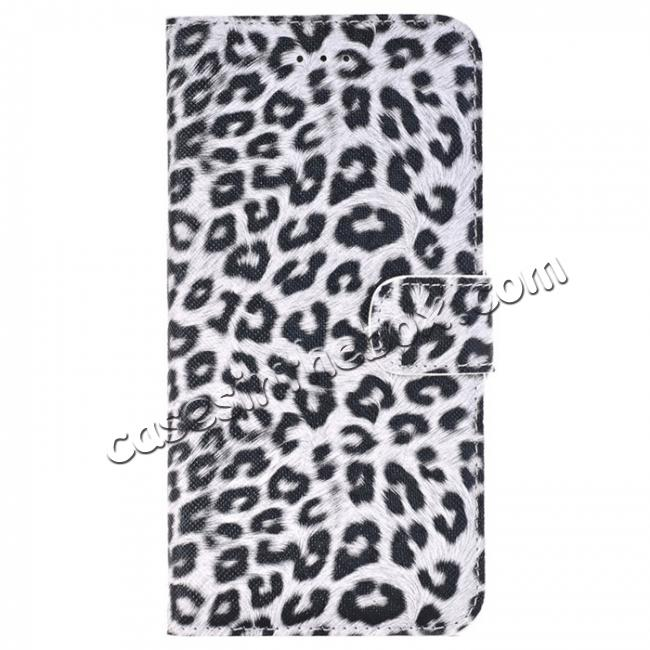 wholesale Leopard Skin Leather Folio Stand Wallet Case for iPhone 8 Plus 5.5 inch - White