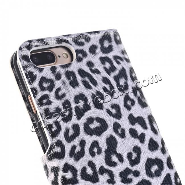 on sale Leopard Skin Leather Folio Stand Wallet Case for iPhone 8 Plus 5.5 inch - White